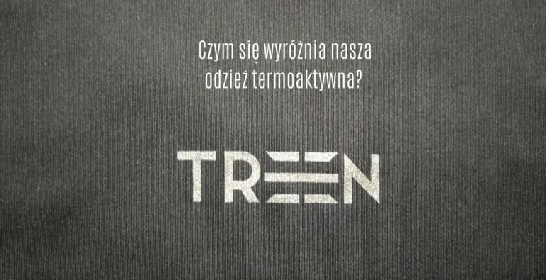 logo TREEN na czarnym materiale termoaktywnym